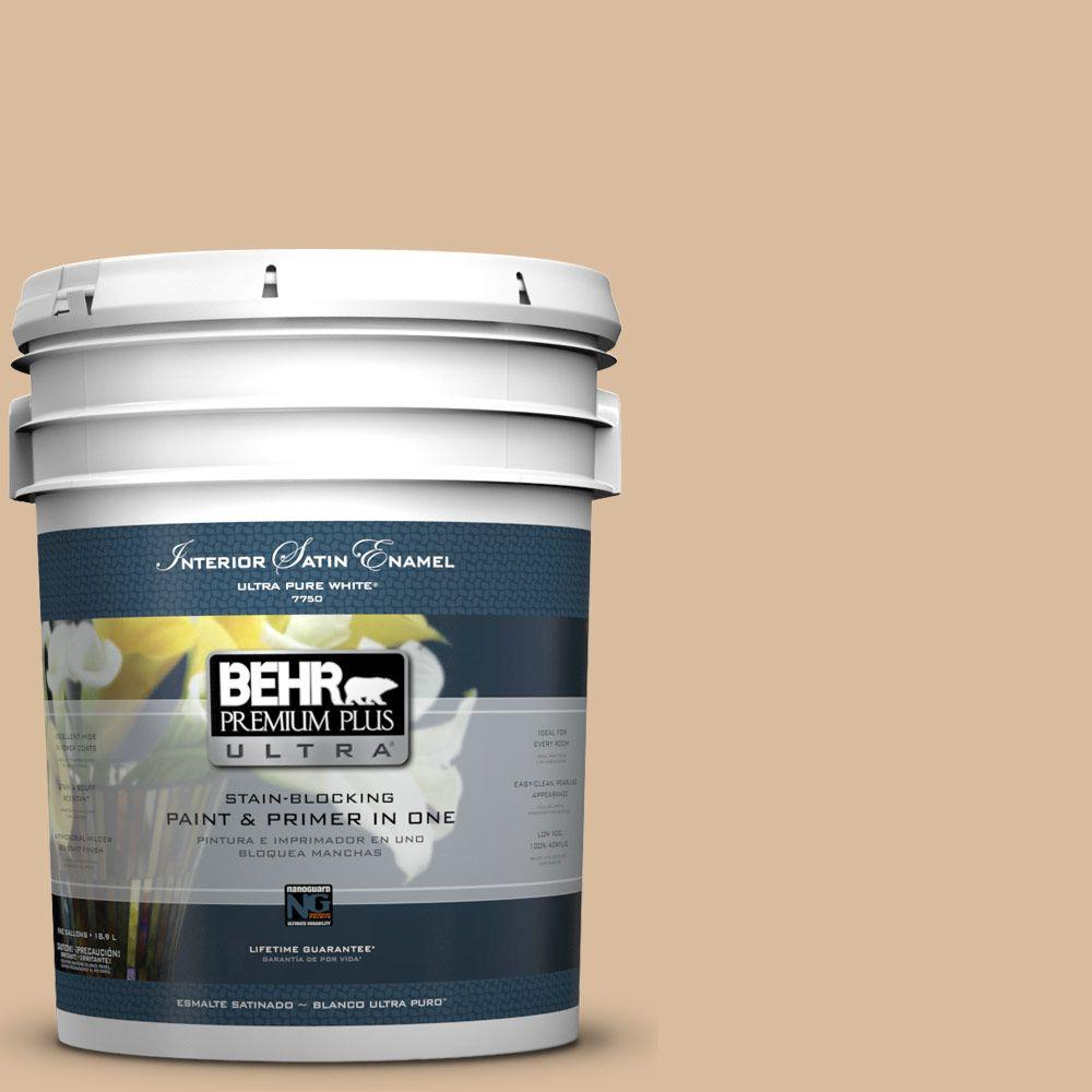 BEHR Premium Plus Ultra 5-gal. #BXC-40 Soft Wheat Satin Enamel Interior Paint