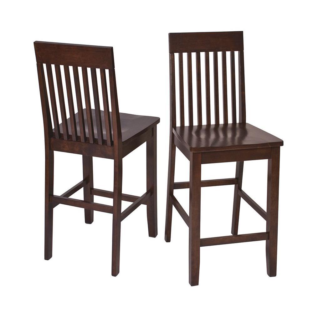 Ospdesigns Westbrook 24 In Dark Brown Wood Bar Stool Set