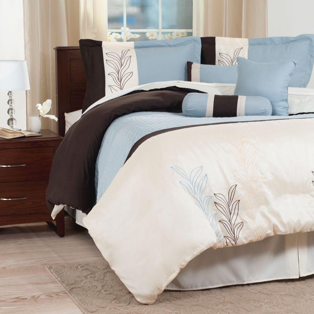 Lavish Home Samantha Blue Embroidered 7-piece Queen Comforter Set