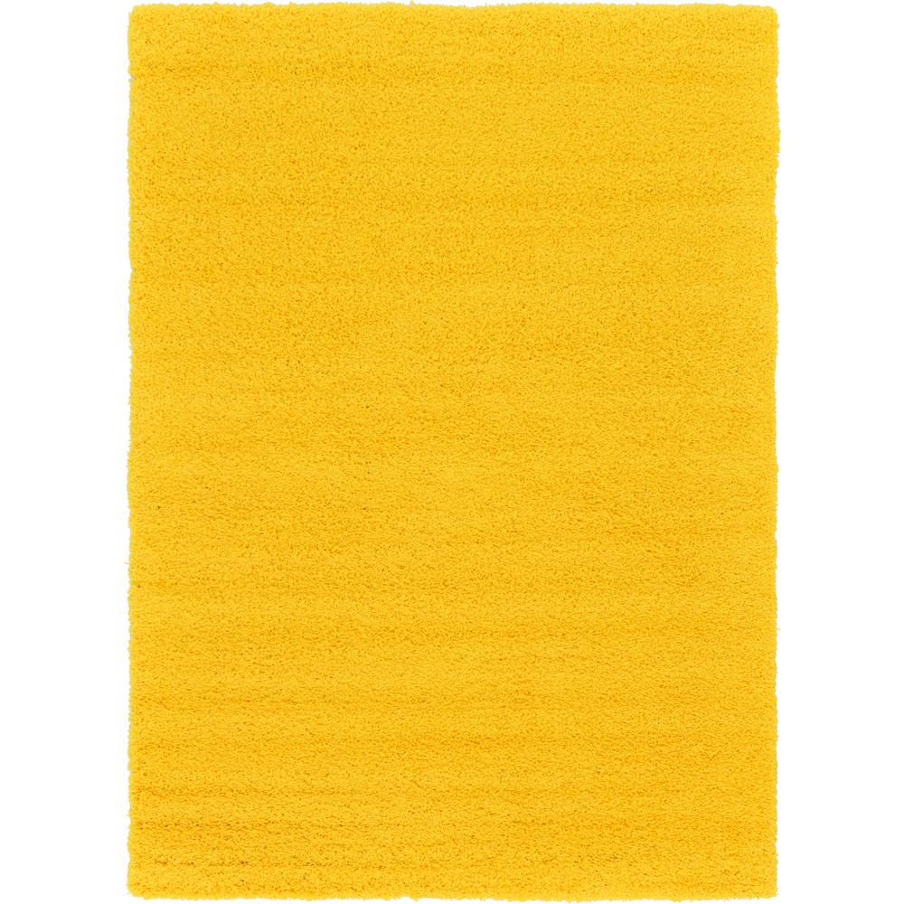 Unique Loom Solid Shag Tuscan Sun Yellow 7 Ft X 10 Ft
