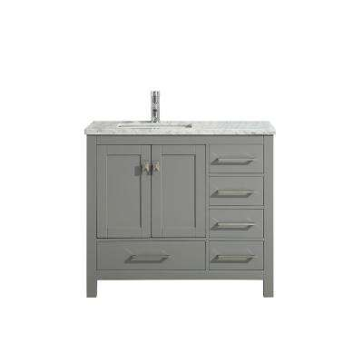 London 36 in. W x 18 in. D x 34 in. H Vanity in Grey with Carrera Marble Top in White with White Basin