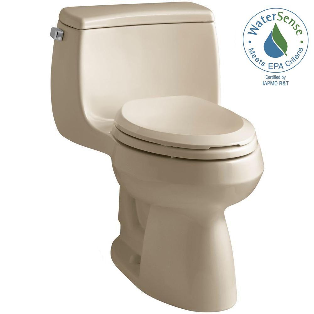 KOHLER Gabrielle Comfort Height 1-Piece 1.28 GPF Single Flush Elongated Toilet with AquaPiston Flushing Technology-Mexican Sand
