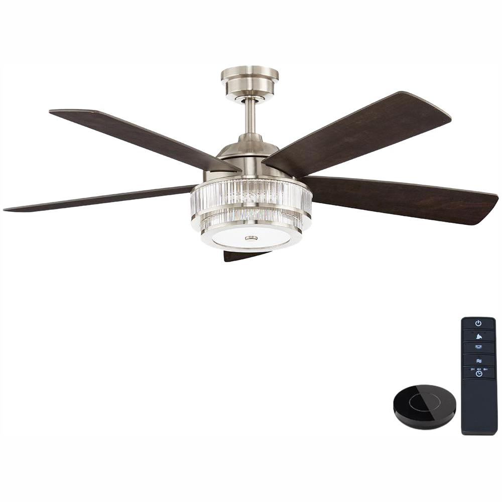 Home Decorators Collection Caldwell 52 in. LED Brushed Nickel Ceiling Fan works with Google Assistant and Alexa