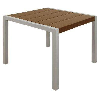 Surf City 36 in. Textured Silver Patio Dining Table with Tree House Top