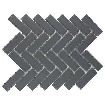 Restore Matte Charcoal Gray Herringbone 9 in. x 12 in. x 6.35 mm Glazed Ceramic Mosaic Tile (0.6 sq. ft./piece)