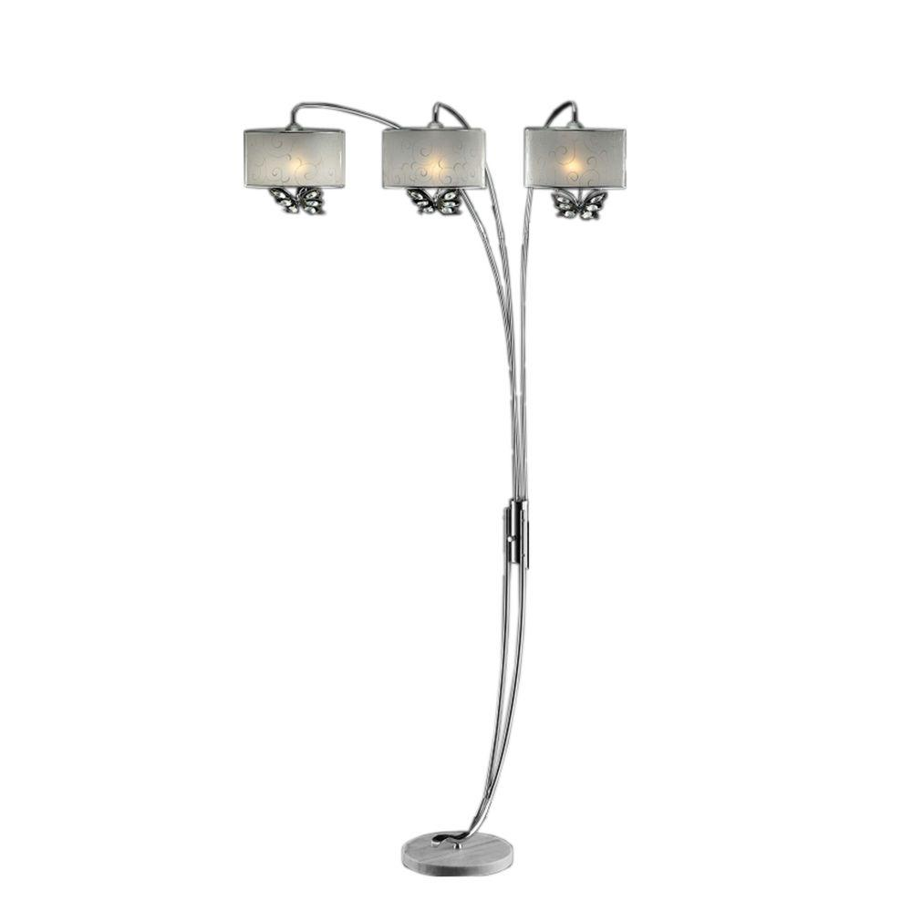 ORE International 85 in. Hydra Polished Steel Arch Lamp with White Butterfly Shades
