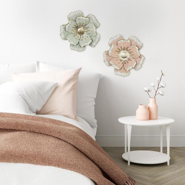 Stratton Home Decor Layered Pink Flower Metal Wall Decor S33474 The Home Depot