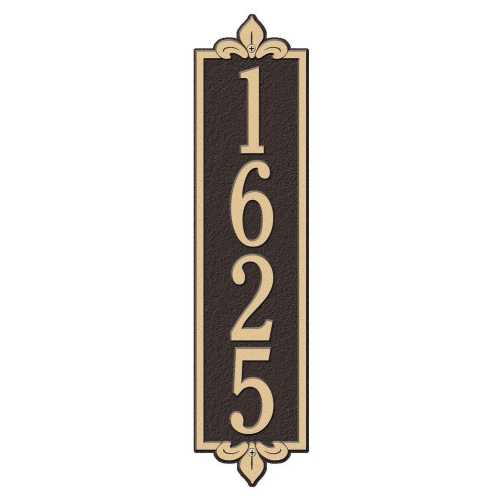 Rectangular Lyon Estate Wall 1-Line Vertical Address Plaque - Bronze/Gold
