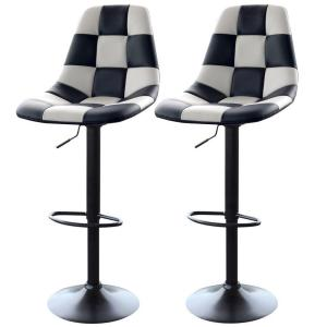 AmeriHome Adjustable Height White/Black Swivel Cushioned Bar Stool (Set of 2) by AmeriHome