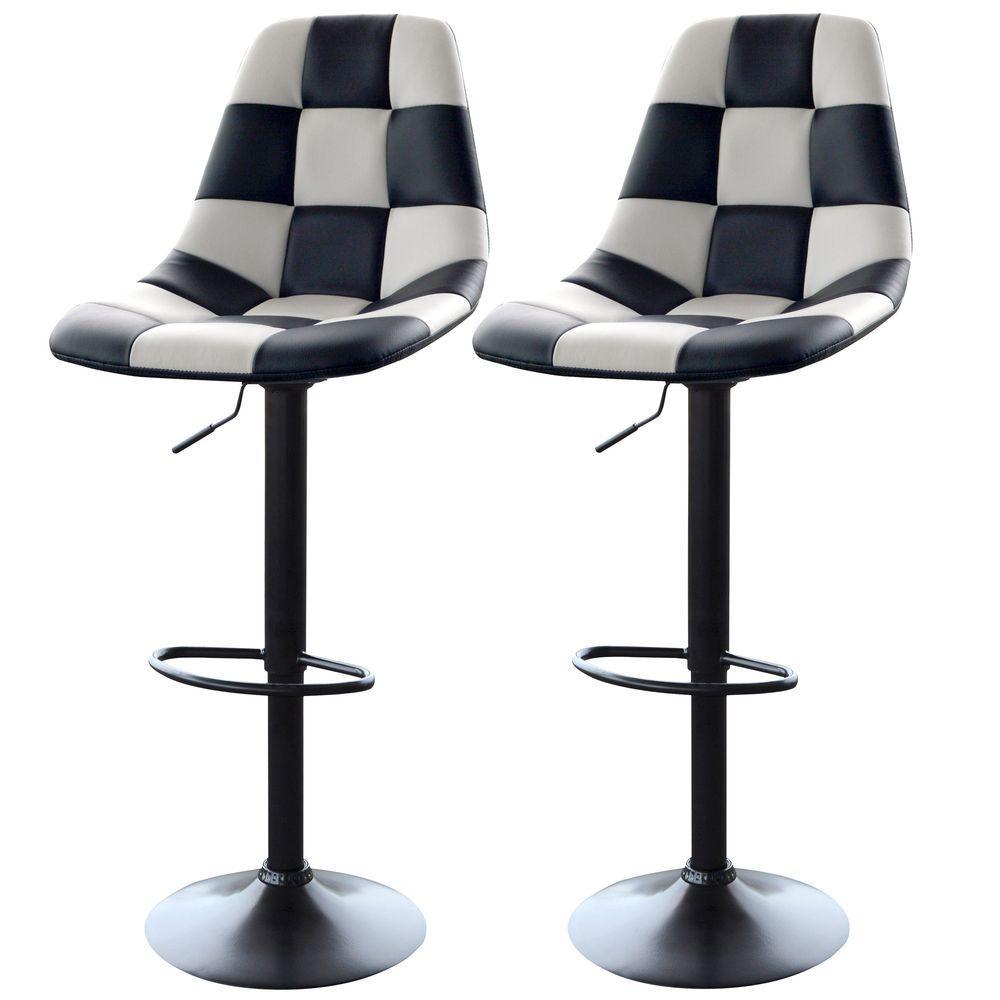 Adjustable Height White/Black Swivel Cushioned Bar Stool (Set of 2)