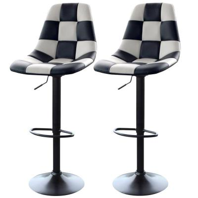 Adjustable Height White/Black Swivel Cushioned Bar Stool (Set of 2)