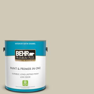 Behr Premium Plus 1 Gal N330 3 Unmarked Trail Satin Enamel Low Odor Interior Paint And Primer In One 705001 The Home Depot