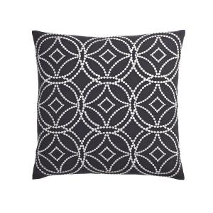 20 in. x 20 in. Charcoal Geometric Embroidered Pillow Cover