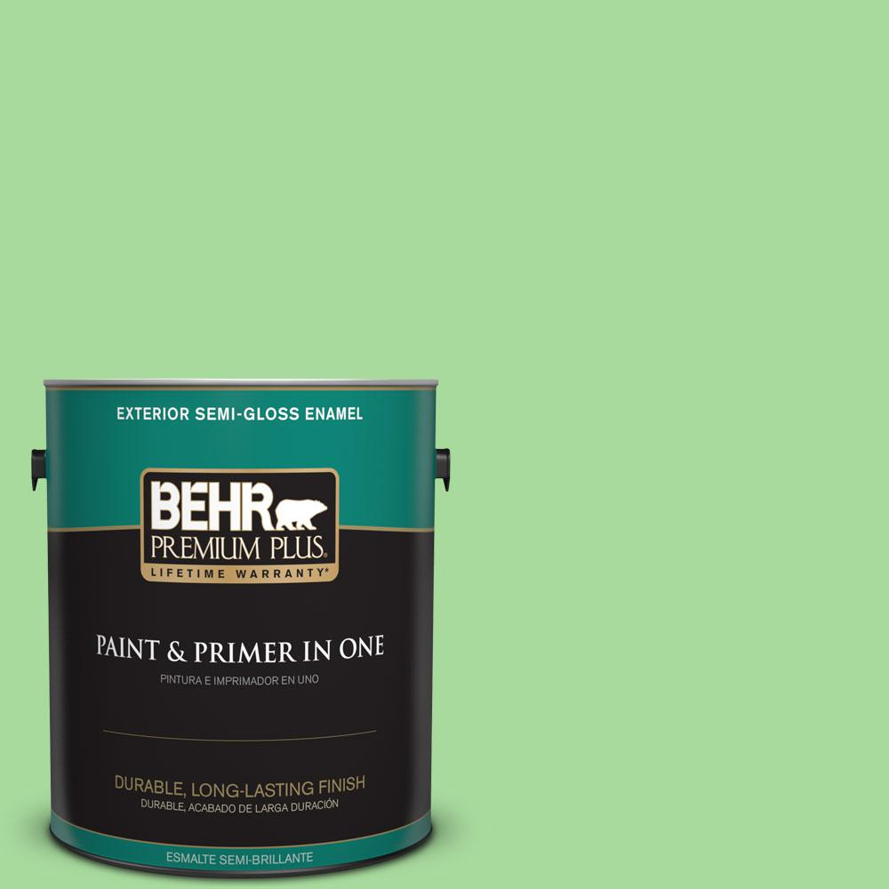 1-gal. #440B-4 Cool Aloe Semi-Gloss Enamel Exterior Paint
