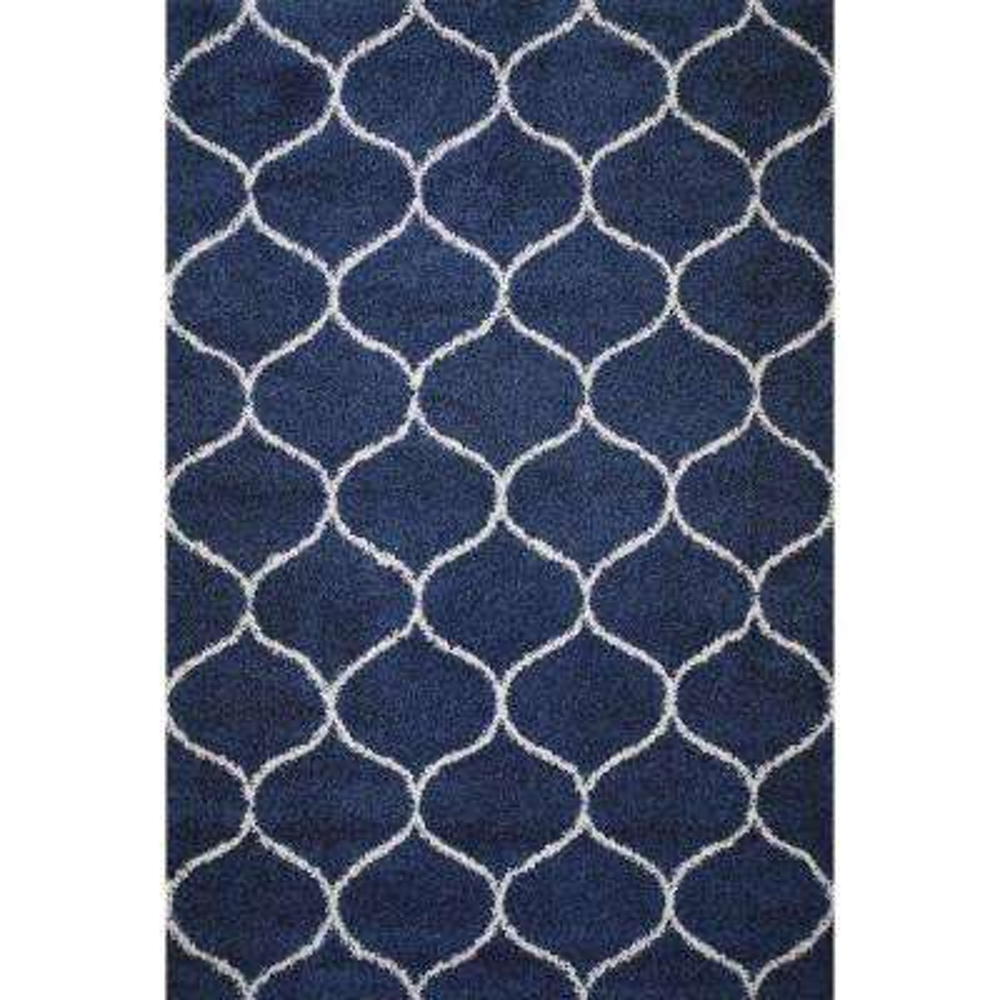 Marrakesh Moroccan Tile Shag Blue 8 ft. x 10 ft. Area Rug