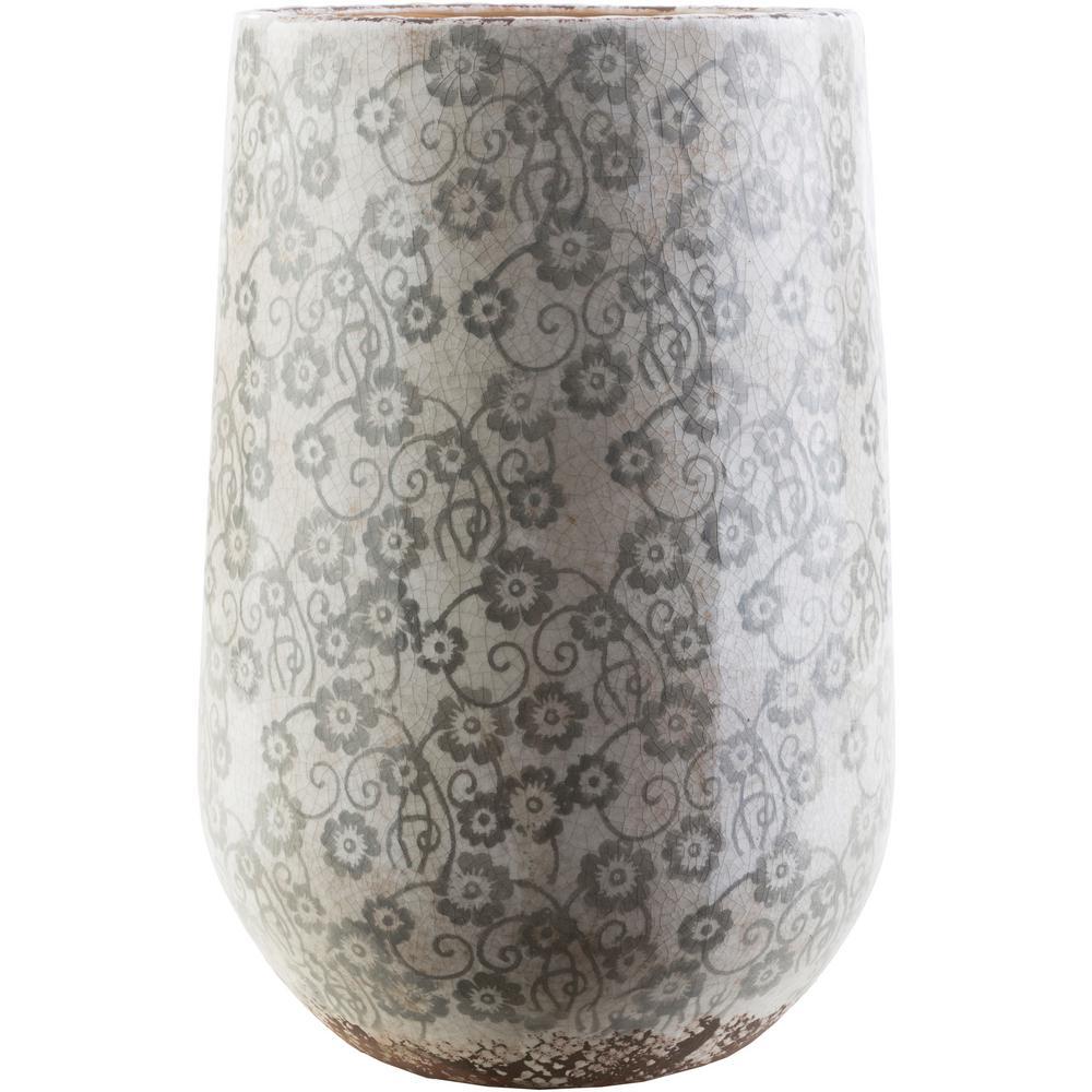 Draven 17.9 in. Ceramic Decorative Vase in Gray