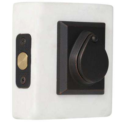 Reserve Rustic Single Cylinder Dark Bronze Square Deadbolt