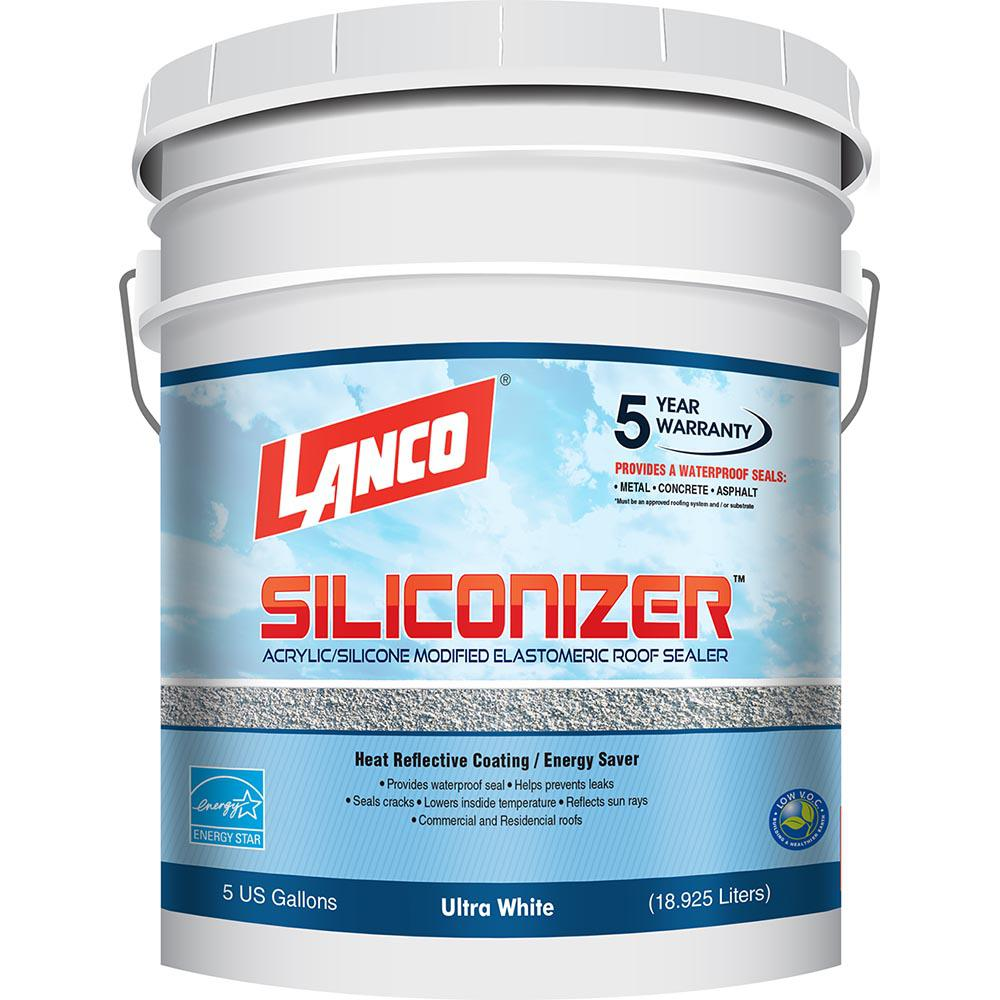 Lanco 5 Gal  Siliconizer Elastomeric Sealer Reflective Roof Coating