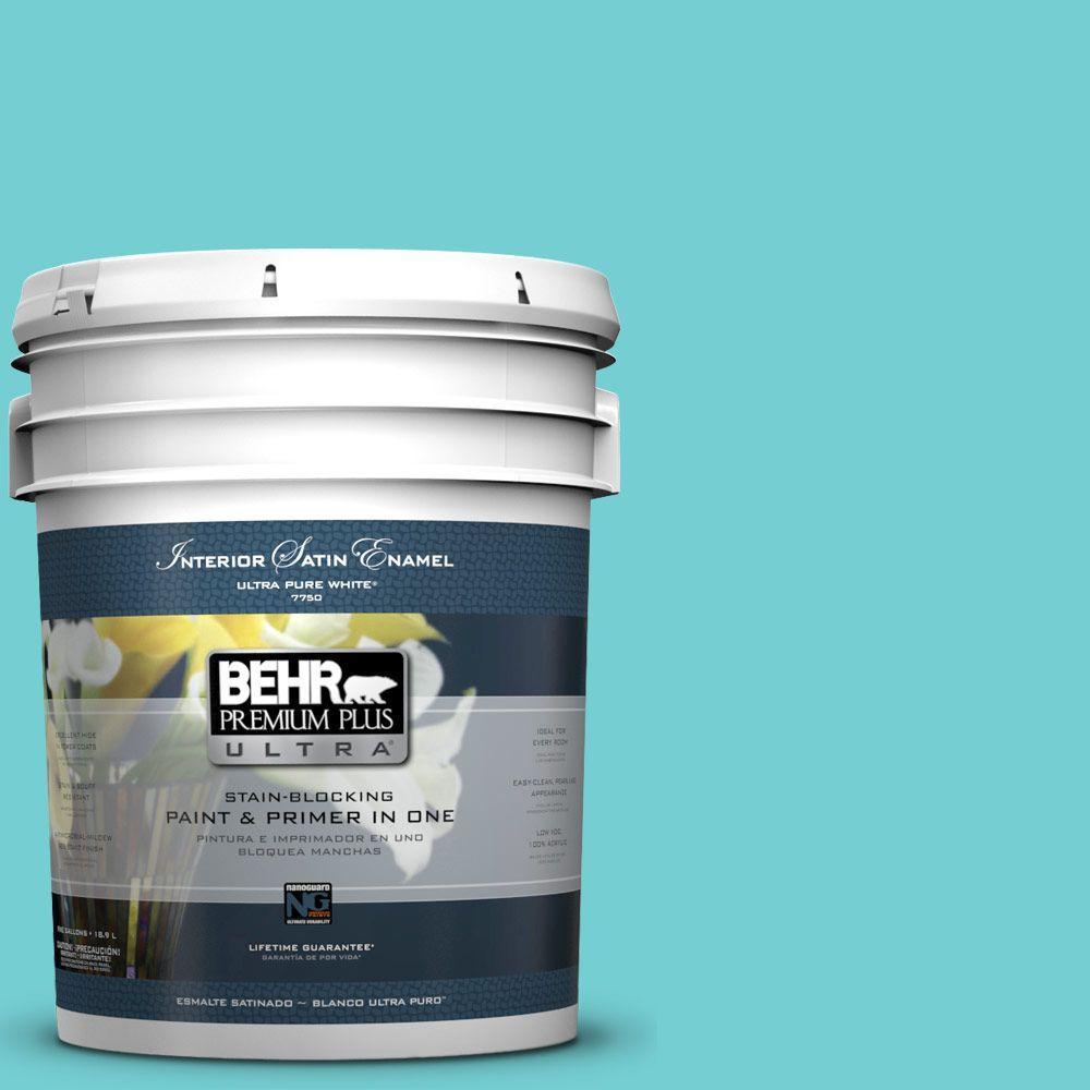 BEHR Premium Plus Ultra 5-gal. #P460-3 Soft Turquoise Satin Enamel Interior Paint
