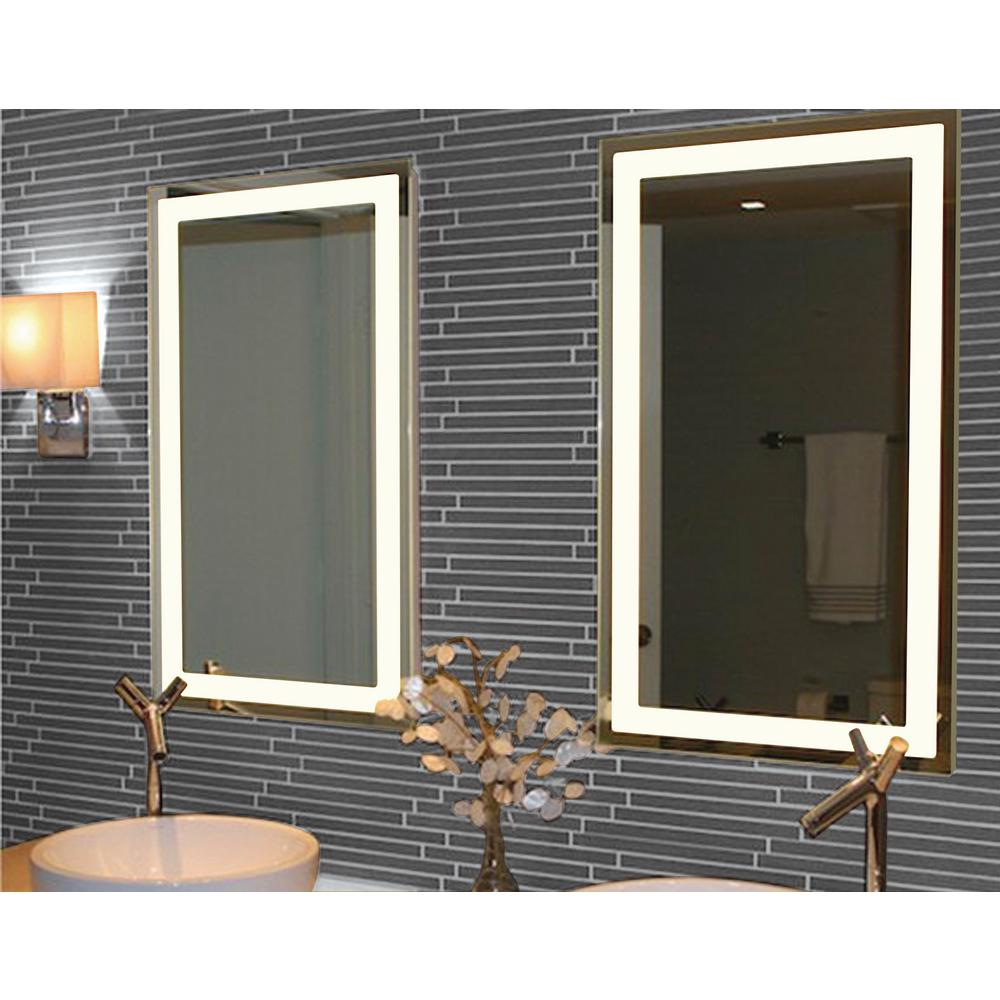 Unbranded 20 In W X 36 In H Frameless Rectangular Led Light Bathroom Vanity Mirror In Silver Il 2036 R The Home Depot