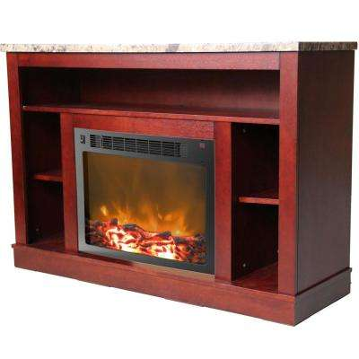 Oxford 47 in. Electric Fireplace with a 1500-Watt Log Insert and Mahogany Mantel