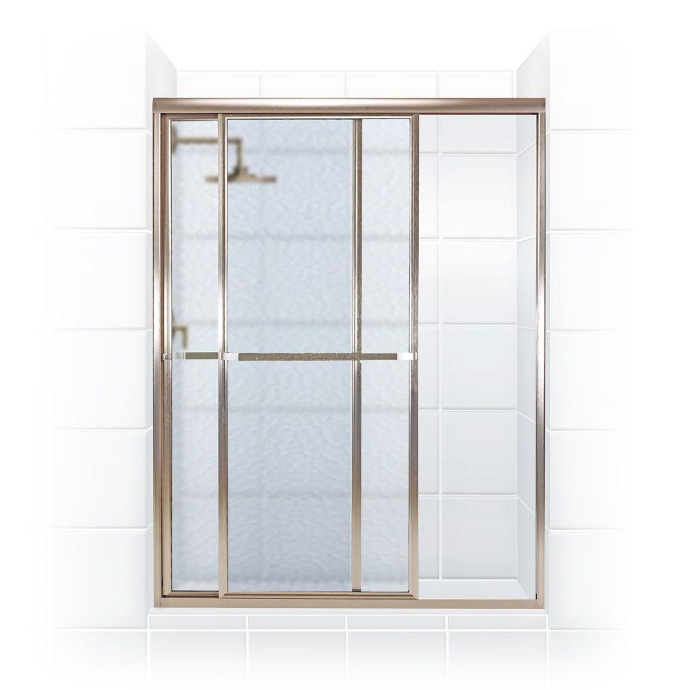 Coastal Shower Doors Paragon Series 50 in. x 66 in. Framed Sliding Shower Door with Towel Bar in Brushed Nickel and Obscure Glass