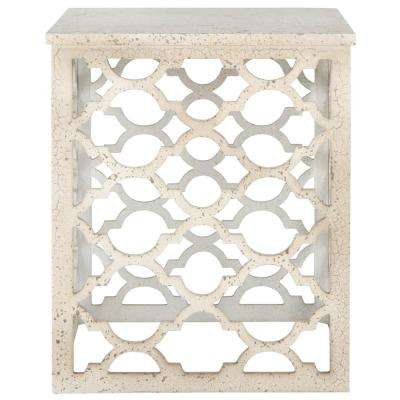 Lonny Distressed White End Table