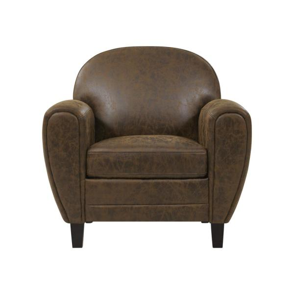 Handy Living Valencia Modern Club Chair in Distressed Saddle Brown Faux