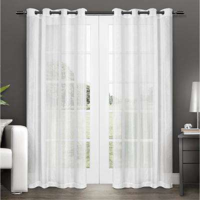 Penny 50 in. W x 96 in. L Sheer Grommet Top Curtain Panel in Winter White (2 Panels)