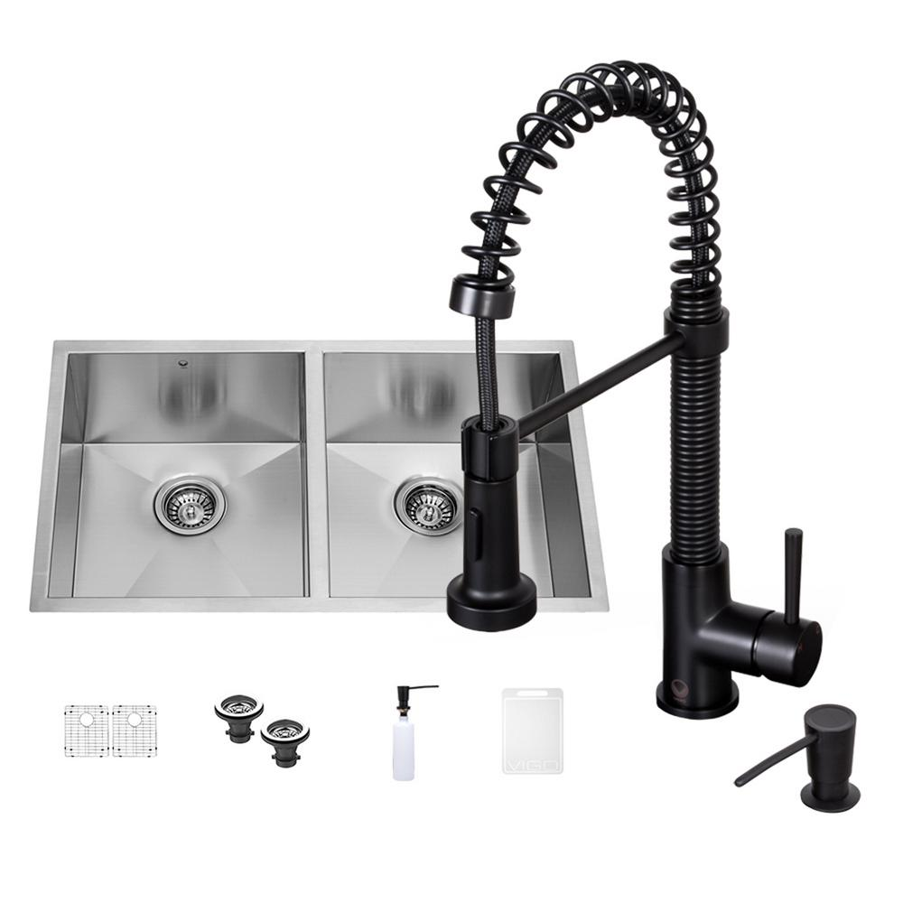 All-in-One Undermount 32 in. Double Basin Kitchen Sink in Stainless Steel