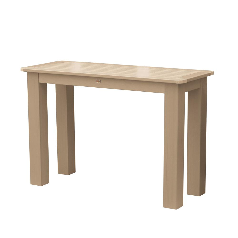 Highwood Tuscan Taupe Rectangular Recycled Plastic Outdoor Balcony Height Dining Table