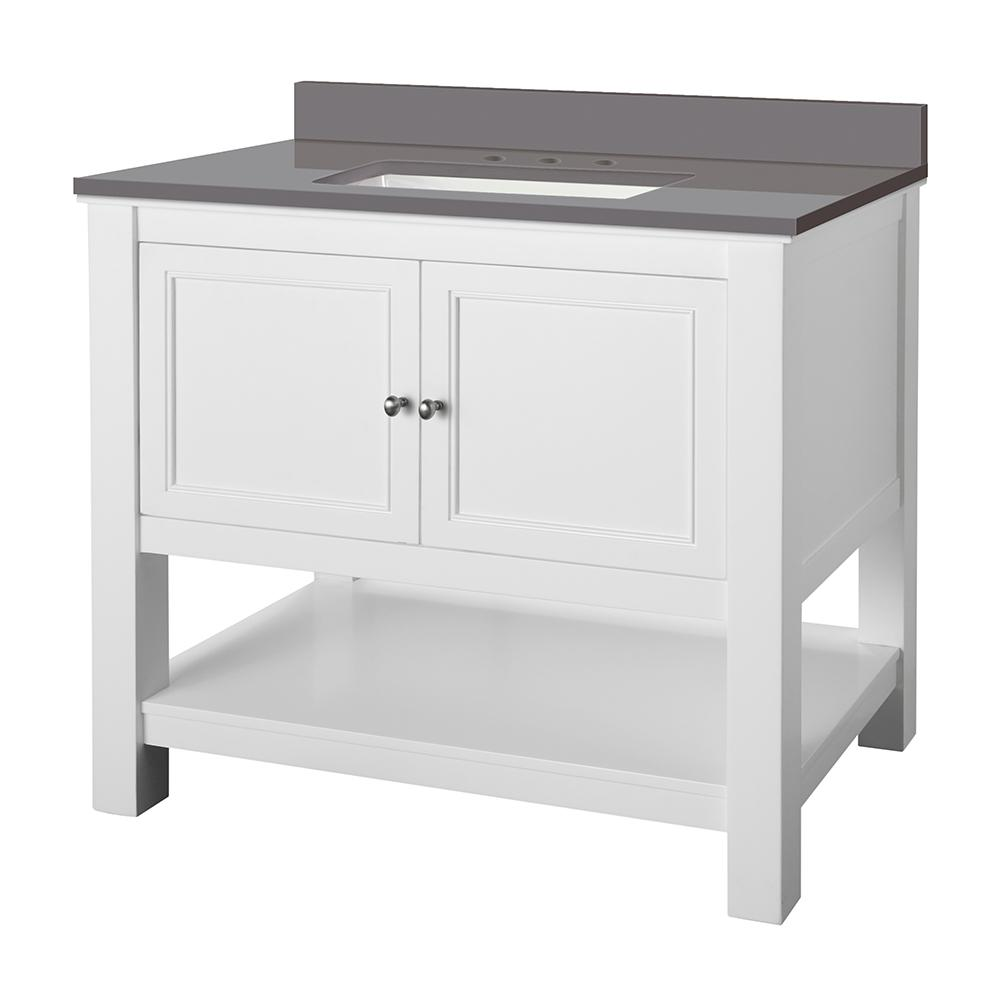 Gazette 37 in. W Bath Vanity Cabinet in White with Engineered