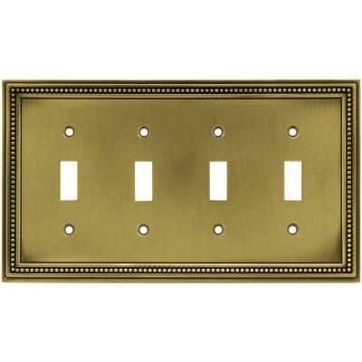 Brass 4-Gang 4-Toggle Wall Plate (1-Pack)
