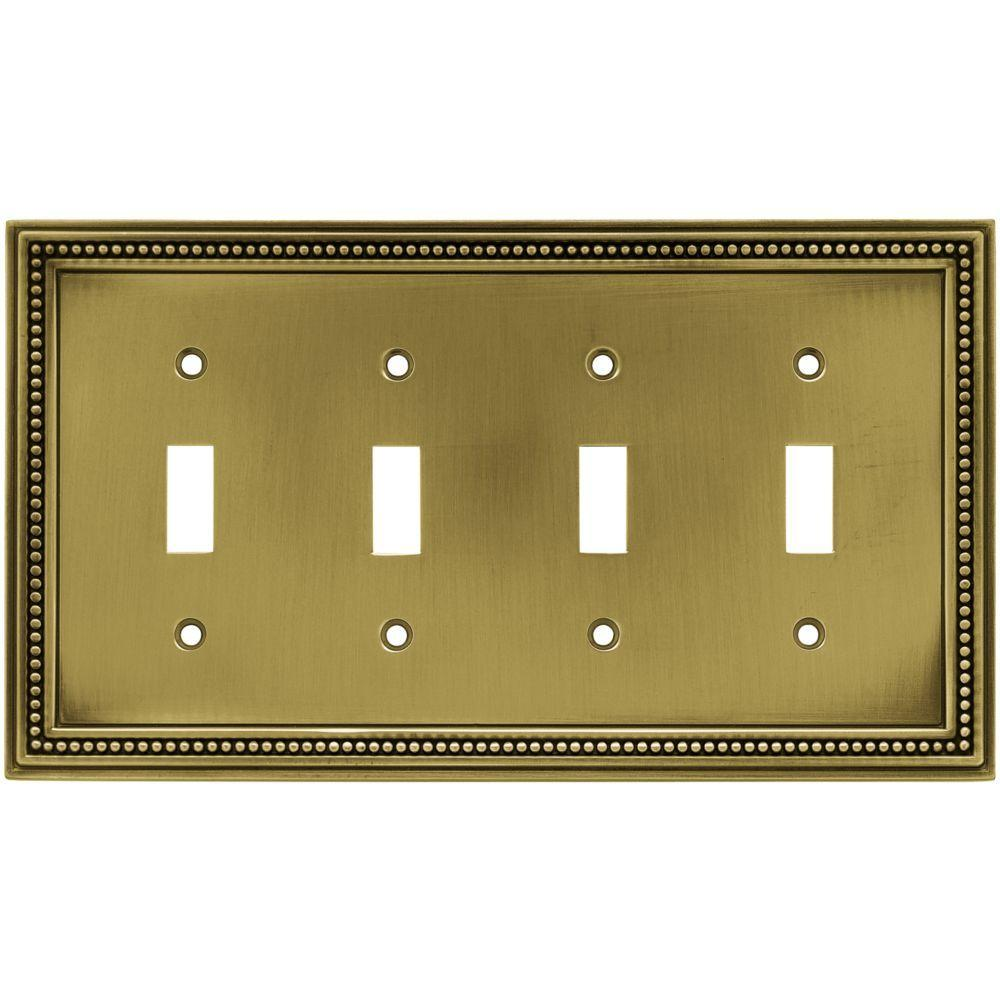 H&ton Bay Beaded Decorative Quadruple Switch Plate Tumbled Antique Brass  sc 1 st  The Home Depot & Hampton Bay Beaded Decorative Quadruple Switch Plate Tumbled ...