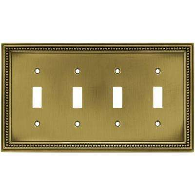 Beaded Decorative Quadruple Switch Plate, Tumbled Antique Brass