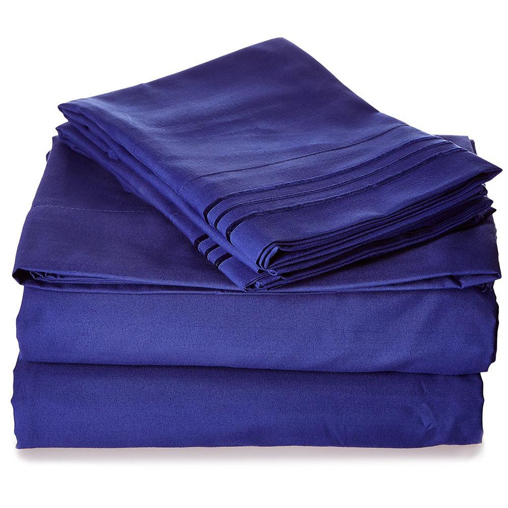4-Piece Royal Blue Solid Microfiber King - Split Sheet Set