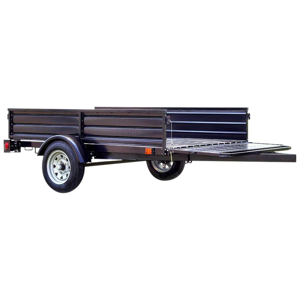 1639 lb. Payload Capacity 4.5 ft. x 7.5 ft. Utility Trailer with Bed Tilt and Collapsing Ends to Extend Bed to 12 ft.