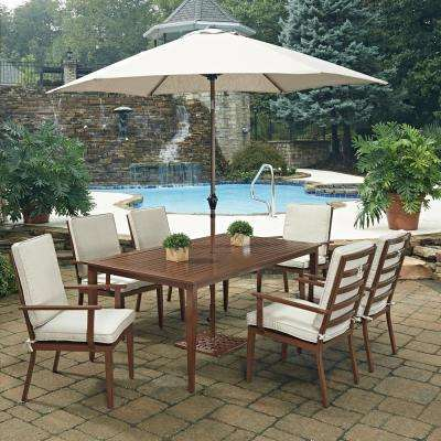 Key West Chocolate Brown 9-Piece Extruded Aluminum Outdoor Dining Set with Beige Cushion