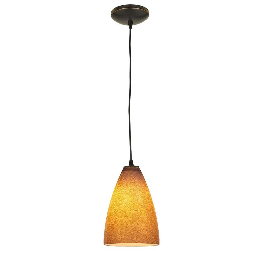 Access Lighting 1-Light Pendant Oil Rubbed Bronze Finish Silver Amber Glass-DISCONTINUED