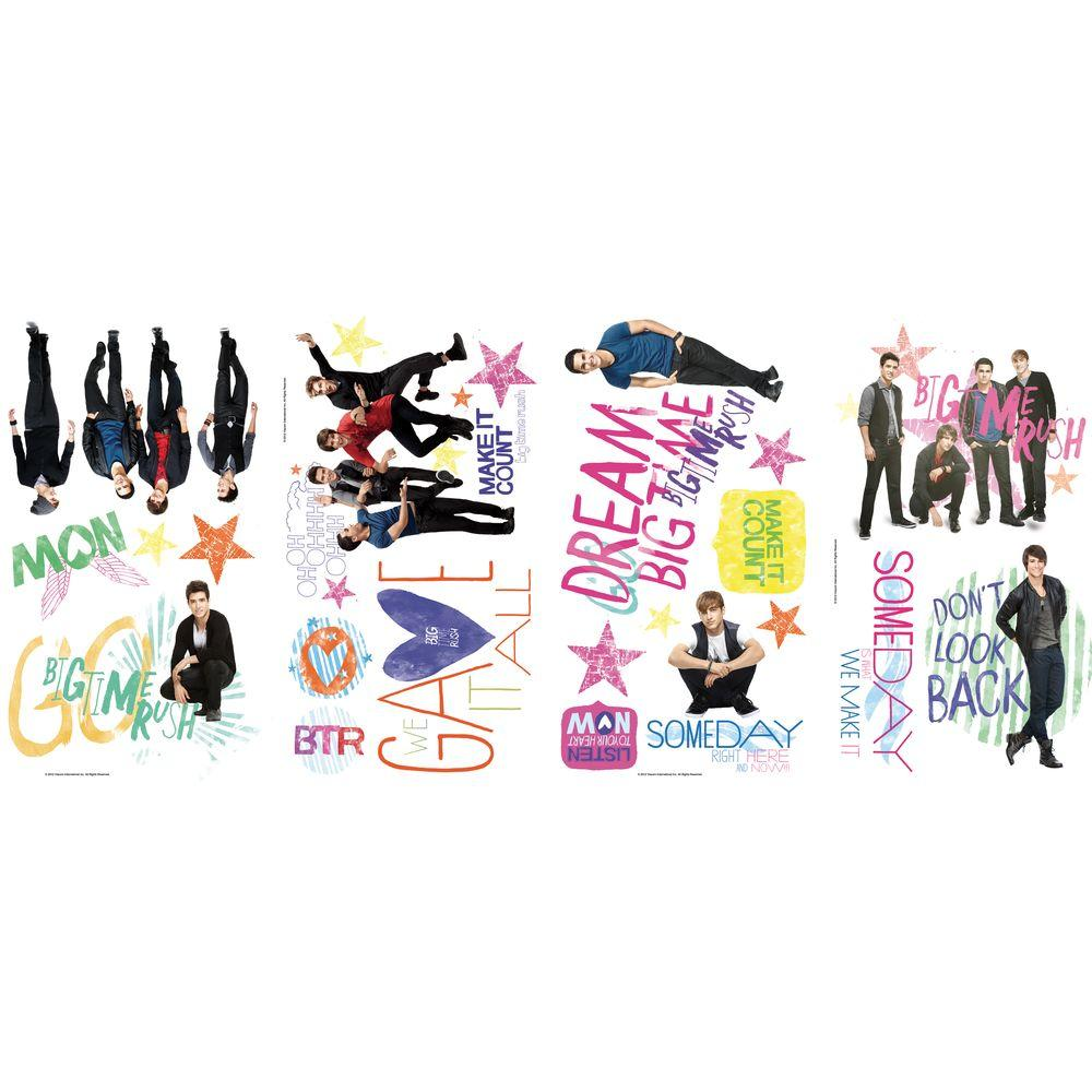 null 10 in. x 18 in. Big Time Rush 20 -Piece Peel and Stick Wall Decals