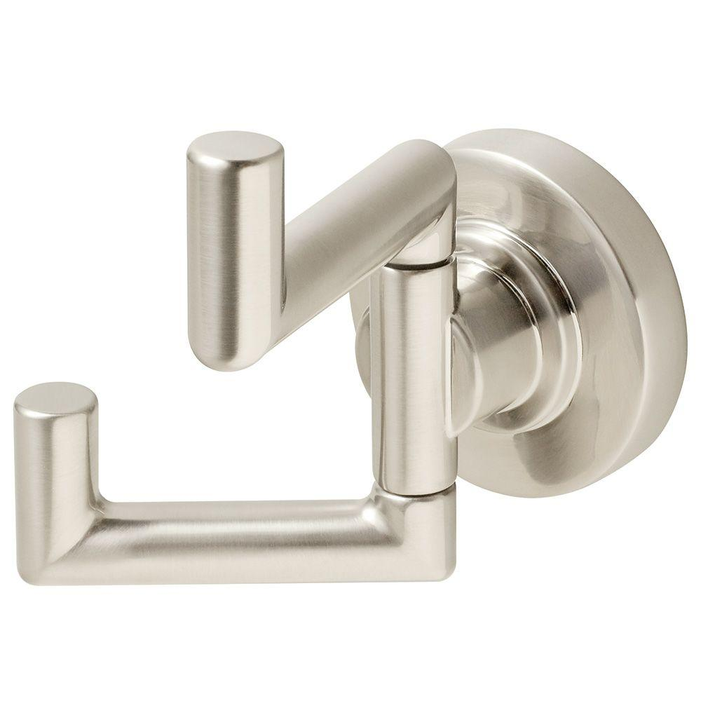 Brushed Nickel Bathroom Accessories Double Robe Hook Bath Accessory Hardware