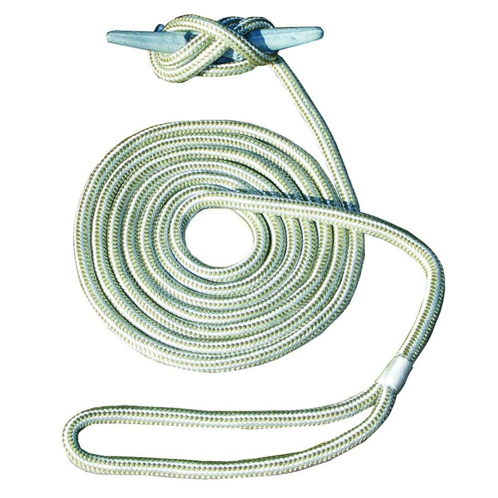 15 ft. 1/2 in. Hand-Spliced Double Braid Gold Dock Line