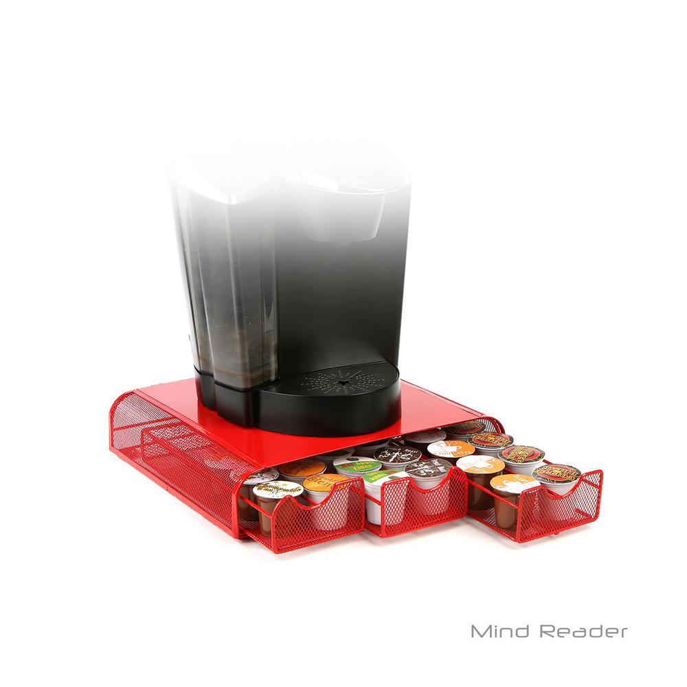 Triple Drawer Mesh K-Cup Single Serve Coffee Pod Drawer, Red
