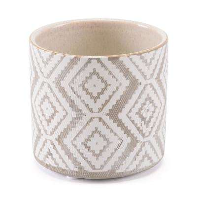 Indio 5.5 in. W x 5.1 in. H White and Gray Ceramic Planter