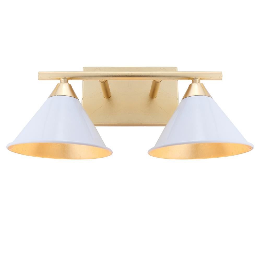JONATHAN Y Yvette 16 in. 2-Light White/Gold Metal Vanity Wall Light