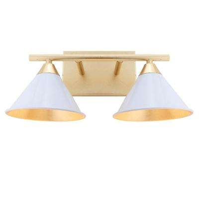 Yvette 16 in. 2-Light White/Gold Metal Vanity Wall Light