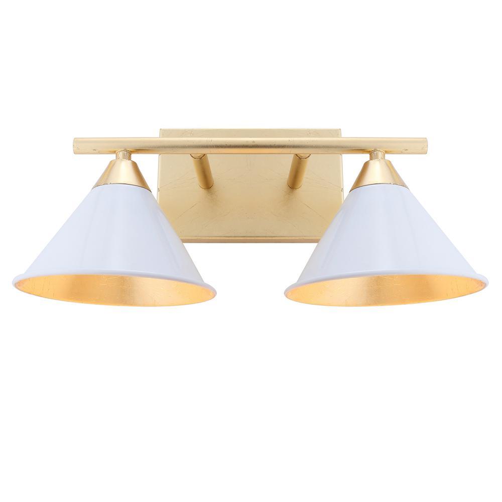 Yvette 16 in. 2-Light White/Gold Metal Vanity Wall Light