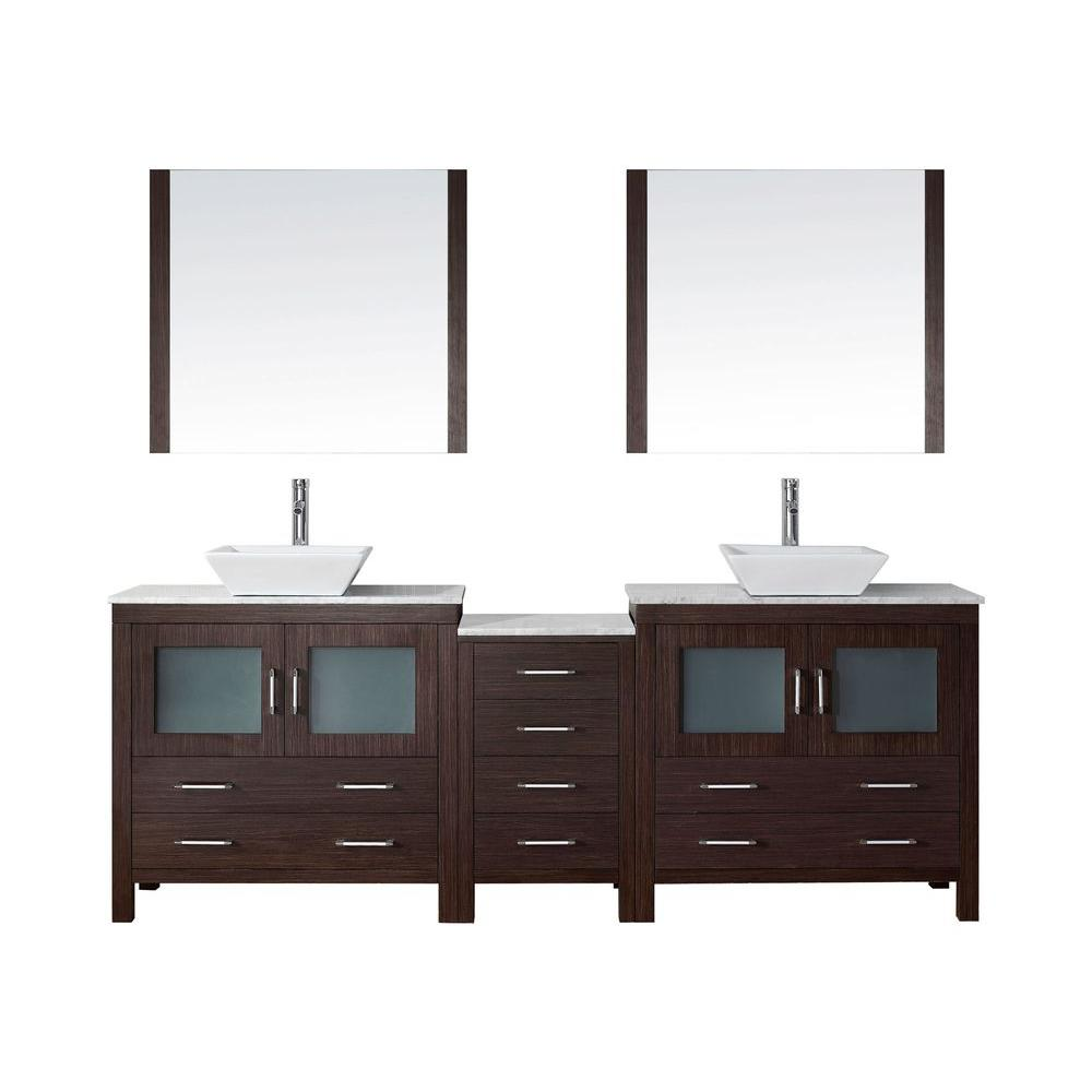 Virtu Usa Dior 79 In W Bath Vanity In Espresso With Marble Vanity