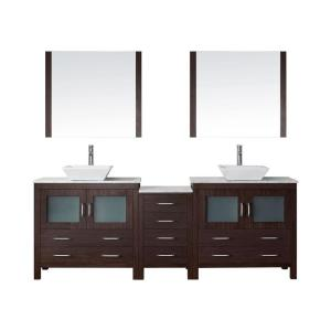 Virtu USA Dior 78 inch W x 18.3 inch D Vanity in Espresso with Marble Vanity Top... by Virtu USA