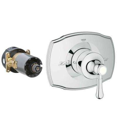 Authentic Single Handle GrohFlex Universal Rough-In Box Single Function Pressure Balance Valve Kit In Chrome